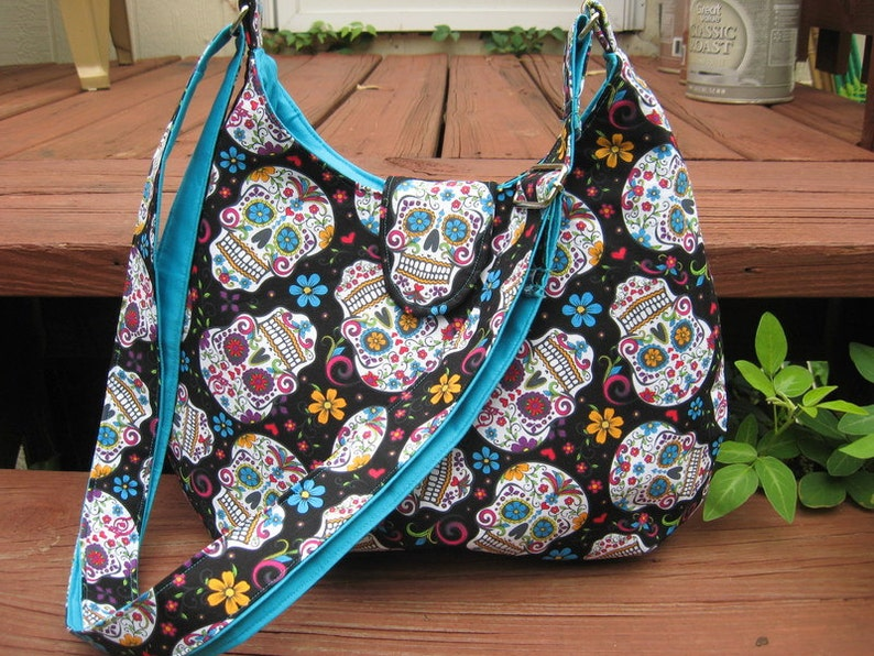 CROSS BODY SKULL Purse Cross Body Skull Hobo Bag Sugar Skull  1c2e4481eba7a