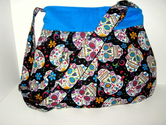CROSS BODY SUGAR Skull Hobo Bag Skull Purse Day Of The Dead  a3464826c20ef