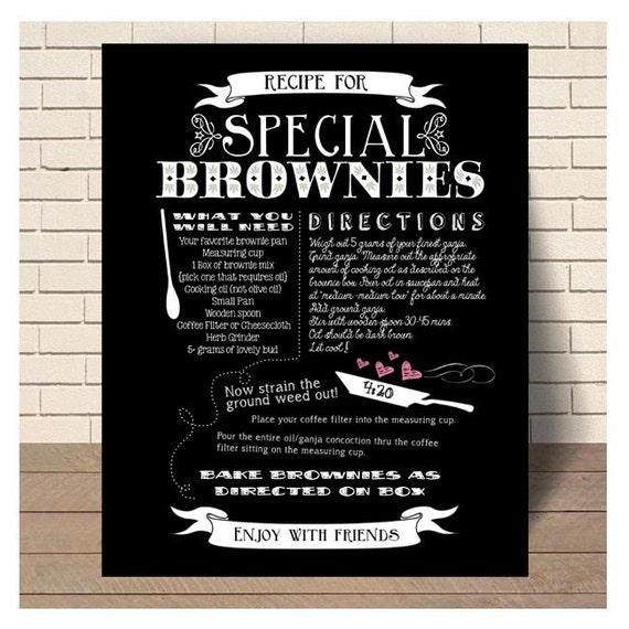 Brownies Rezept Kunst Kreide Tafel Küche Dekor Topf