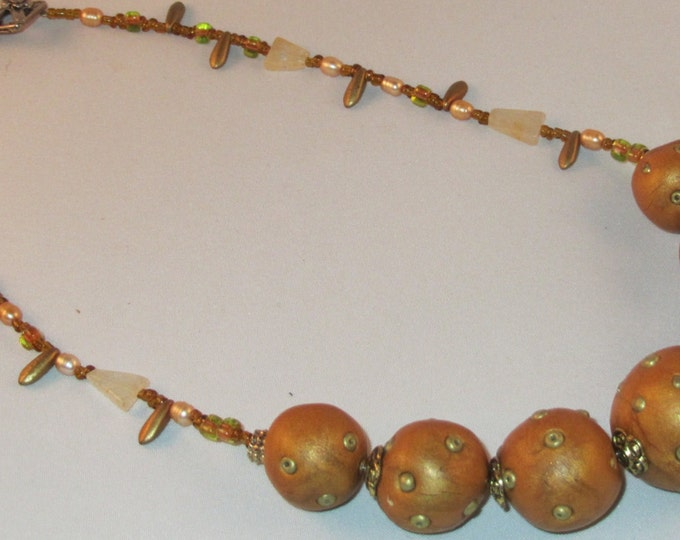 Rustic Bronze Femo Clay Balls with Stone and Glass Necklace