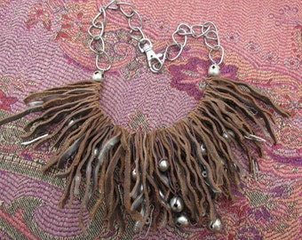 "Funky ""Mermaid"" Necklace! Repurposed Leather"