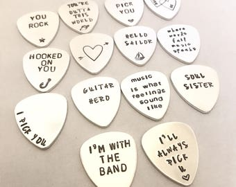 personalised guitar pick custom stamped plectrum music lover gifts for him customized guitar pick christmas gift fathers day