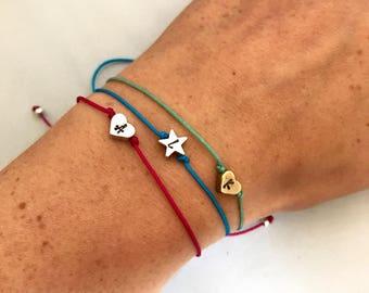 Personalised heart & star adjustable friendship Bracelet, bff jewelry
