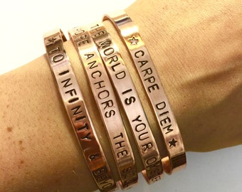 personalised copper cuff, handmade jewellery, personalized quote cuff, skinny cuff bracelet, customized jewelry, custom gift, gifts for her