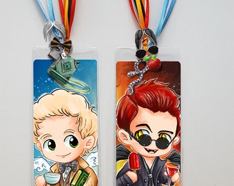 GOOD OMENS inspired Bookmark and Print ! Aziraphale & Crowley - Chibi