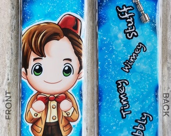 DOCTOR WHO 11th inspired  Bookmark, plus signed Art Card and free Necklace - Chibi - Matt Smith, 11th Doctor