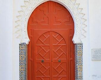 Puerta marroquí rojo impresión