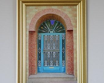 Golden Framed Moroccan Door Print