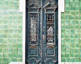 Green Portuguese Door Print