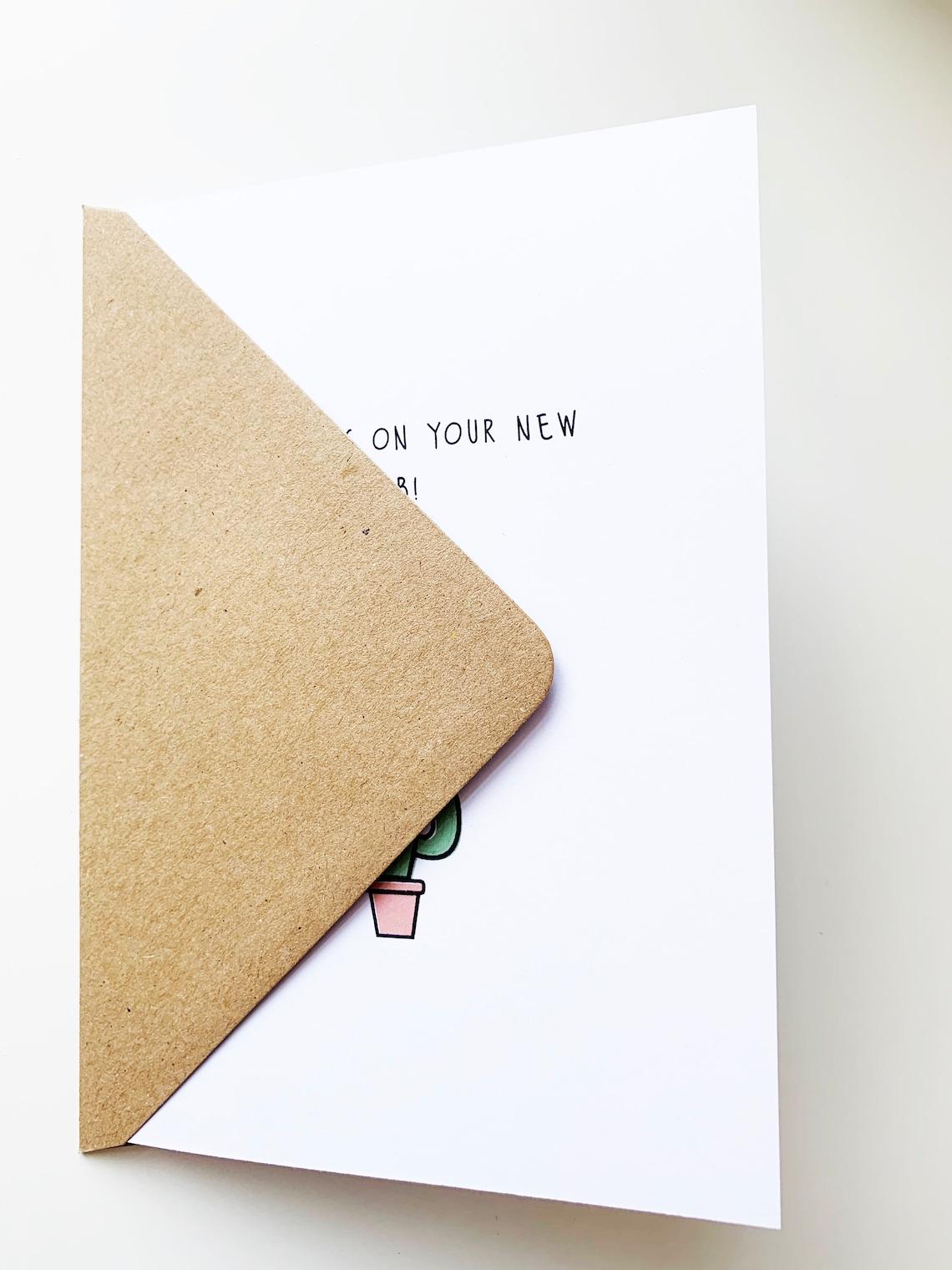 illustrated greetings card new job card cactus card you