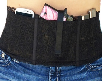 Hidden Heat Lace  - Black Lace Waistband Conceal Carry Gun Holster for Women
