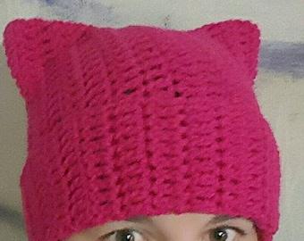 Pussy Hat/Cat Ear Hat/Hot Pink Pussyhat/Pink Pussyhat/Pink Cat Hat/Ladies Cat Hat/Winter Hat **Please Read Description**