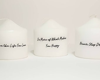 Inspirational Candles, Set of 3 Pillar Candles, Customizable Candles, Home Decor, Inspiration, Friend Gift, Unique Gift