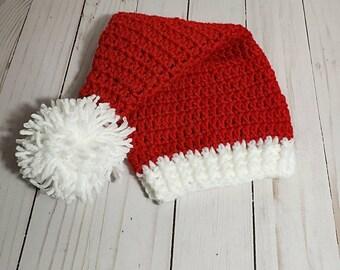 Santa Hat, Crochet Santa Hat, Christmas Hat, Photo Prop