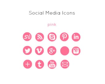 Pink Social Media Icons - Instant Download
