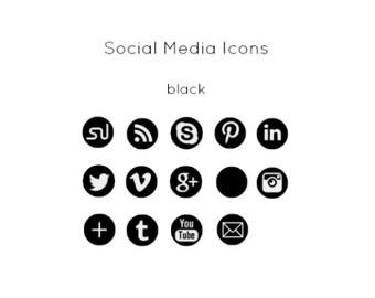Black Social Media Icons - Instant Download