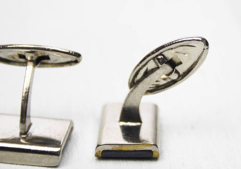 Wedding Whale Back Cufflinks Marbled Cuff Links Cuff Links Silver Tone 1980/'s  1990/'s Dad Gifts Gifts for Him Navy Blue Accessory
