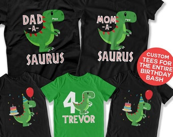 4th Birthday Shirt Dinosaur Party Theme Fourth Boy 4 Year Old Bday Ideas For Boys Toddler DAT 3119 20 24 29