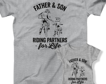 427843b7b Father and Son Riding Partners For Life Matching T-shirts Dad And Son  Outfits Daddy and Me Matching Family Shirts Motorbike Dirt Bike FOT-26