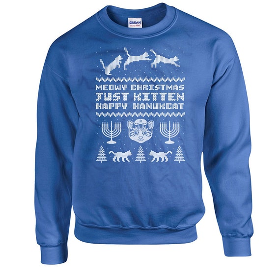 Jewish Christmas Sweater.Ugly Holiday Sweater Happy Hanukkah Sweater Holiday Sweatshirt Cat Lover Gift Holiday Presents Jewish Clothing Holiday Top Cat Hoodie Dn 263