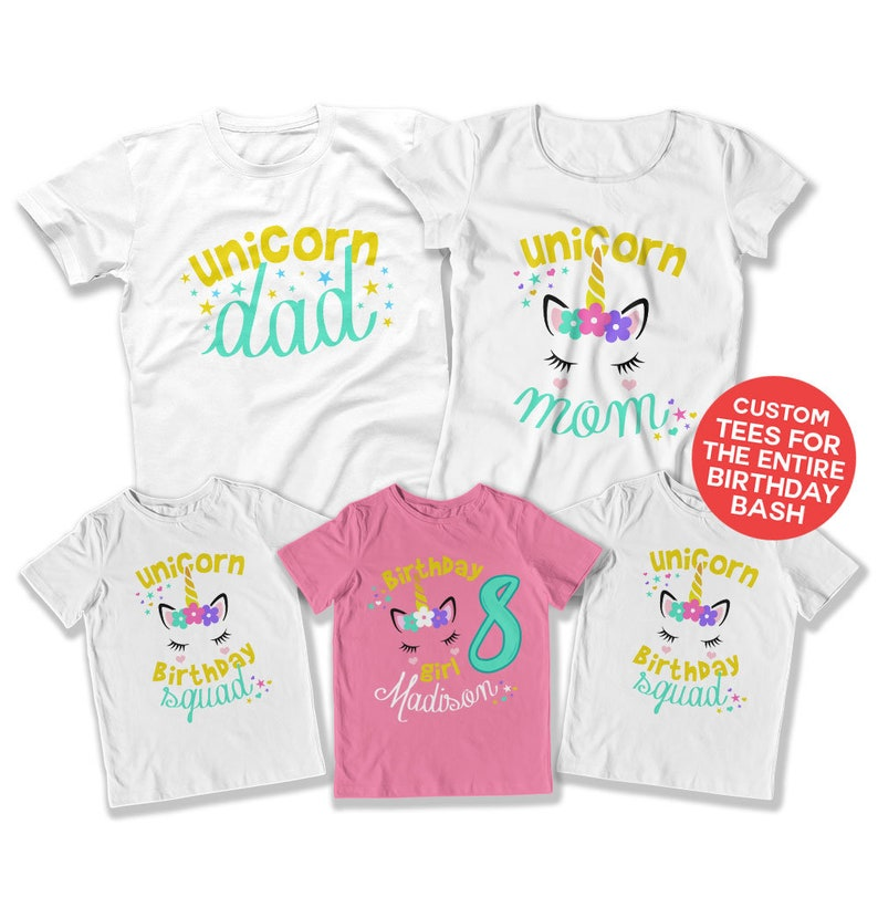 Girls Birthday Party Kids Unicorn Shirt 8th Outfit