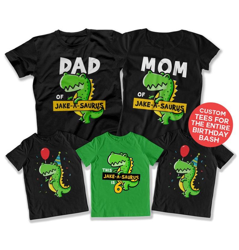 Boys Birthday Party 6 Year Old Shirt Dinosaur Image 0