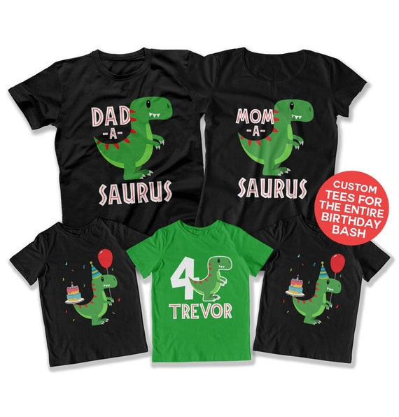 4th Birthday Shirt Dinosaur Party Theme Fourth Boy 4
