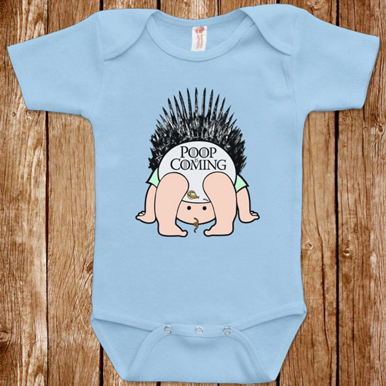 e4f06375fa98 Funny Baby Infant Game Of Thrones Poop Is Coming Bodysuit One