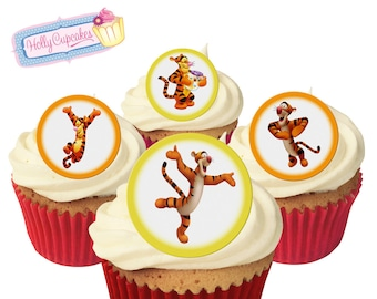 Tigger 24 Pre Cut Edible Round Wafer Cake Toppers Designed And Made In The UK