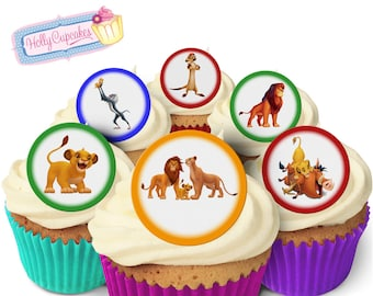 The Lion King  24 Pre-Cut Edible Round Wafer Cake Toppers. Designed and  made in the UK! fe322fbe6
