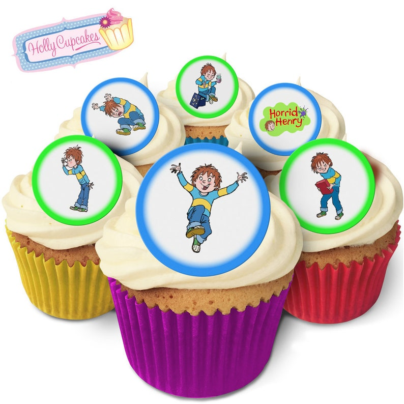 Horrid Henry 24 Pre Cut Edible Round Wafer Cake Toppers