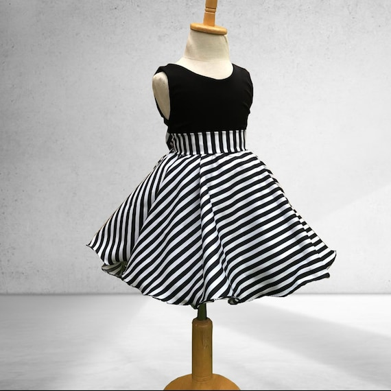 Black And White Stripes Striped Girls Dress Striped Flair Etsy