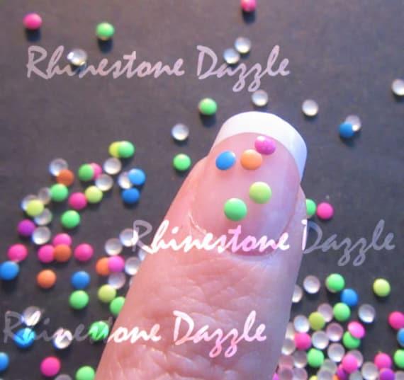 2mm Neon Round Nail Studs Nail Art 3d Nail Design Diy Etsy