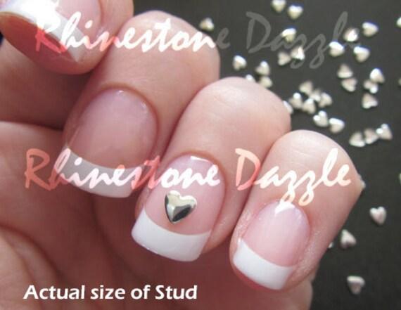4mm Silver Heart Nail Studs Nail Art 3d Nail Design Diy Etsy
