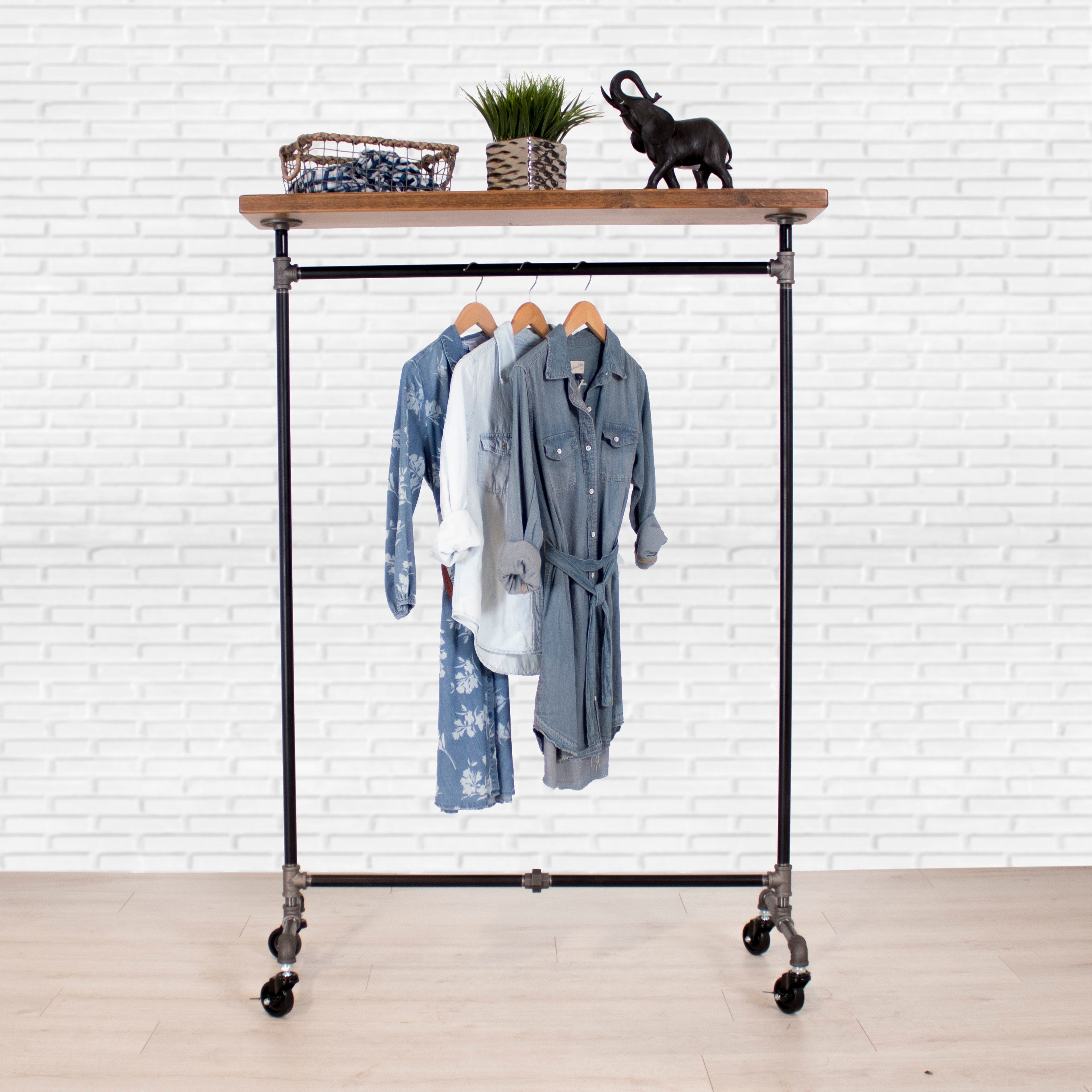 Clothing Rack With Wood Shelf Closet Storage Industrial Pipe Clothing Rack Clothes Rack Garment Rack Fast Free Shipping
