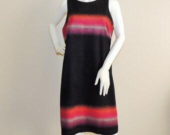 Vintage Wool Blend Blanket Dress Knee Length Sleeveless Fall Winter Dress Colorblock Dress Black Pink /& Orange Mod Dress