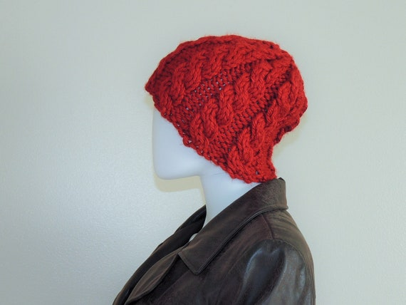 Vintage Chunky Knit Hat, Hand-Knitted Deep Red Fal