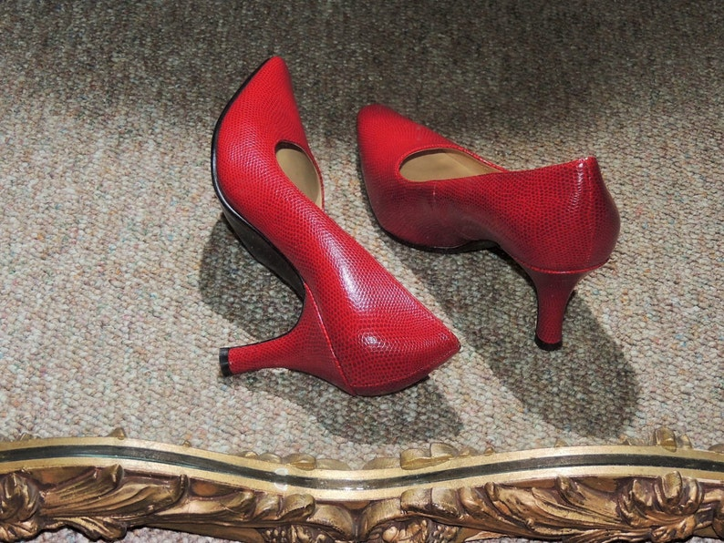 bb3d017a630 90's Red Clancy Pumps, Deep Red Office Shoes, Retro Pointed Toe Classy Red  Pumps, Vintage New Stock Shoes Size US 7.5, NEW