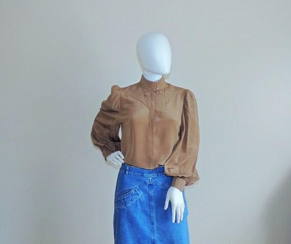 Vintage Pancaldi & B Silk Blouse, Puff Long Sleeve