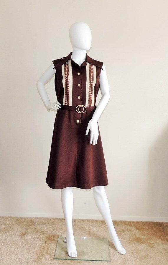 Vintage Diolen Loft Dress, Brown Sleeveless Dress,