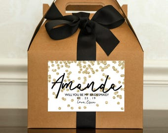 Gold Bridesmaid Proposal Box. Will You Be My Bridesmaid Gift Box. Personalized Bridal Party Gift. Bridesmaid Gable Box. Maid of Honor Invite