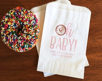 958df7a05772 Oh Baby Shower Favor Bags - Girl Baby Shower Donut Bags - Oh Baby Shower  Decor - Baby Sprinkle Favor Bags - Baby Girl Shower Decorations