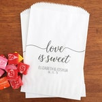 LINED Love is Sweet Bags - Wedding Cookie Bags, Dessert Bar Bags, Guest Favor Bags - Candy Bags for Wedding, Bridal Shower, Engagement Party