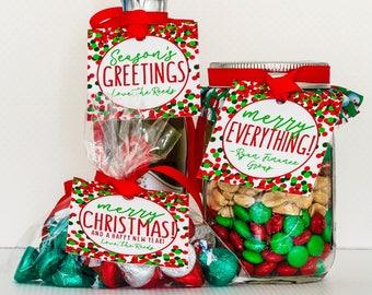 Custom Christmas Gift Tags & Ribbon - Merry Christmas Tags - Holiday Gift Tags Personalized - Christmas Favor Tags - Holiday Wine Tags