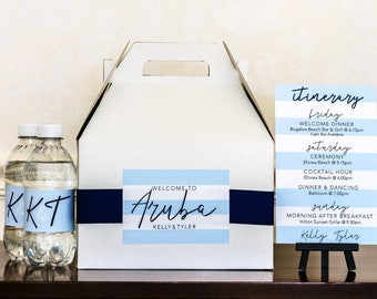 Hotel Wedding Welcome Box, Water Bottle Labels & Itinerary Card - Destination Wedding Favor - Out of Town Wedding Guest Gift Box - Gable Box