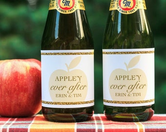 fall bridal shower favors fall wedding shower decorations apple bridal shower decor martinelli cider bottle label appley ever after