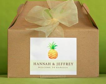 Pineapple Wedding Welcome Box Sticker - Beach Wedding Welcome Sticker - Tropical Wedding - Island Wedding - Hawaii Wedding Gift Bag Labels