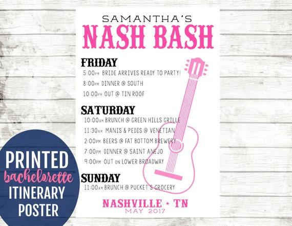 Nashville Bachelorette Party Decorations Austin Bachelorette Itinerary Poster Nash Bash Decoration Memphis Bachelorette Party Agenda