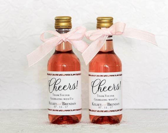 Rose Gold Wedding Mini Wine Bottle Labels Rose Gold Party Etsy