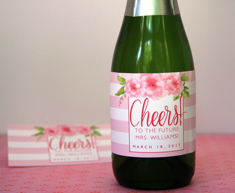 Mini Champagne Bottle Label Bridal Shower Floral Bridal | Etsy